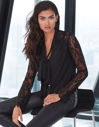 Lace Multi Way Tie Blouse - neckline: v-neck; pattern: plain; style: blouse; predominant colour: black; occasions: evening; length: standard; fibres: polyester/polyamide - 100%; fit: straight cut; sleeve length: long sleeve; sleeve style: standard; texture group: sheer fabrics/chiffon/organza etc.; bust detail: bulky details at bust; pattern type: fabric; embellishment: lace; season: a/w 2016; wardrobe: event
