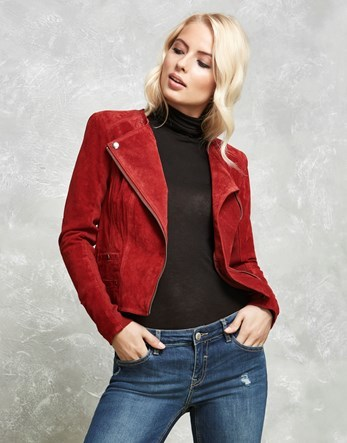 Suede Biker Jacket - pattern: plain; style: biker; fit: slim fit; collar: standard lapel/rever collar; predominant colour: true red; occasions: casual; length: standard; fibres: leather - 100%; sleeve length: long sleeve; sleeve style: standard; collar break: medium; pattern type: fabric; texture group: suede; season: a/w 2016; wardrobe: highlight
