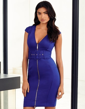 Zip Front Belted Dress - neckline: low v-neck; sleeve style: capped; fit: tight; pattern: plain; style: bodycon; waist detail: belted waist/tie at waist/drawstring; predominant colour: royal blue; occasions: evening; length: just above the knee; fibres: viscose/rayon - stretch; sleeve length: short sleeve; texture group: jersey - clingy; pattern type: fabric; season: a/w 2016; wardrobe: event