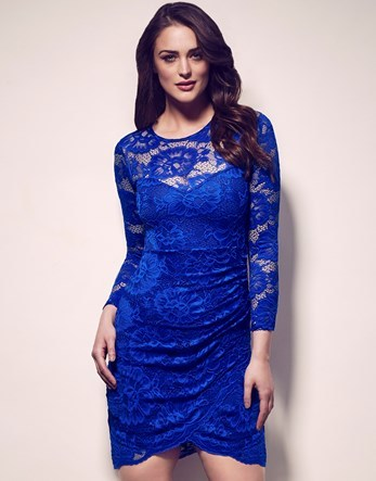Long Sleeve All Over Lace Bodycon Dress - length: mid thigh; fit: tight; pattern: plain; style: bodycon; bust detail: sheer at bust; predominant colour: royal blue; occasions: evening; fibres: polyester/polyamide - stretch; neckline: crew; sleeve length: long sleeve; sleeve style: standard; texture group: lace; pattern type: fabric; season: a/w 2016; wardrobe: event