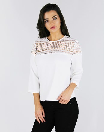 Shoulder Lace Insert Top - pattern: plain; bust detail: sheer at bust; predominant colour: white; occasions: casual; length: standard; style: top; fibres: polyester/polyamide - 100%; fit: body skimming; neckline: crew; sleeve length: 3/4 length; sleeve style: standard; pattern type: fabric; texture group: jersey - stretchy/drapey; embellishment: lace; season: a/w 2016; wardrobe: highlight