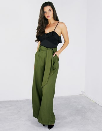 Tie Waist Maxi Trousers - length: standard; pattern: plain; style: palazzo; waist detail: belted waist/tie at waist/drawstring; waist: mid/regular rise; predominant colour: khaki; occasions: casual; fibres: polyester/polyamide - stretch; fit: wide leg; pattern type: fabric; texture group: other - light to midweight; wardrobe: basic; season: a/w 2016