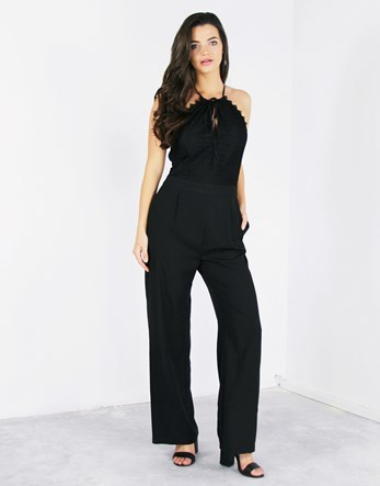 Front Tie Low Back Jumpsuit - length: standard; sleeve style: spaghetti straps; pattern: plain; predominant colour: black; occasions: evening, occasion; fit: body skimming; fibres: polyester/polyamide - 100%; neckline: crew; sleeve length: sleeveless; texture group: crepes; style: jumpsuit; pattern type: fabric; pattern size: standard; season: a/w 2016; wardrobe: event