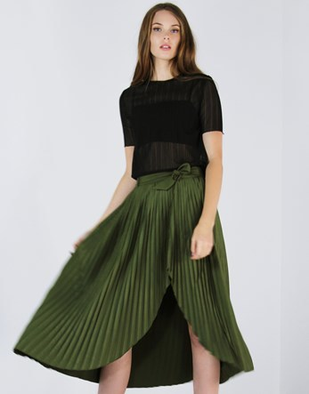 Pleated Tie Waist Skirt - length: calf length; pattern: plain; style: full/prom skirt; fit: loose/voluminous; waist: high rise; waist detail: belted waist/tie at waist/drawstring; predominant colour: dark green; fibres: polyester/polyamide - 100%; occasions: occasion, creative work; hip detail: adds bulk at the hips; pattern type: fabric; texture group: other - light to midweight; season: a/w 2016; wardrobe: highlight