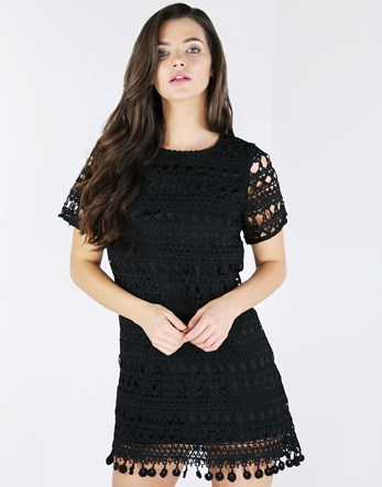 Fan Hem Lace Shift Dress - style: shift; pattern: plain; predominant colour: black; occasions: evening; length: just above the knee; fit: body skimming; fibres: polyester/polyamide - 100%; neckline: crew; sleeve length: short sleeve; sleeve style: standard; texture group: knits/crochet; pattern type: knitted - big stitch; shoulder detail: sheer at shoulder; season: a/w 2016; wardrobe: event