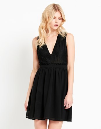 Plunge Lace Back Dress - length: mid thigh; neckline: low v-neck; pattern: plain; sleeve style: sleeveless; predominant colour: black; occasions: evening; fit: fitted at waist & bust; style: fit & flare; fibres: polyester/polyamide - 100%; sleeve length: sleeveless; texture group: lace; pattern type: fabric; season: a/w 2016