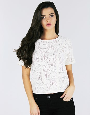 Bom Bom Trim Insert Lace Top - pattern: plain; predominant colour: white; occasions: casual; length: standard; style: top; fibres: cotton - mix; fit: body skimming; neckline: crew; sleeve length: short sleeve; sleeve style: standard; texture group: lace; pattern type: fabric; season: a/w 2016; wardrobe: highlight