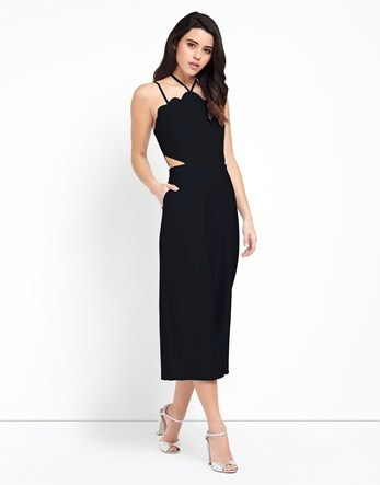 Cutout Jumpsuit - neckline: v-neck; sleeve style: spaghetti straps; fit: tailored/fitted; pattern: plain; predominant colour: black; occasions: evening; length: calf length; fibres: polyester/polyamide - 100%; sleeve length: sleeveless; texture group: crepes; style: jumpsuit; pattern type: fabric; pattern size: standard; season: a/w 2016; wardrobe: event