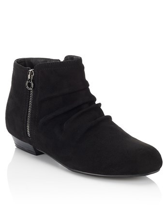 Side Zip Detail Ankle Boots - predominant colour: black; occasions: casual; material: suede; heel height: flat; heel: standard; toe: round toe; boot length: ankle boot; style: standard; finish: plain; pattern: plain; season: a/w 2016