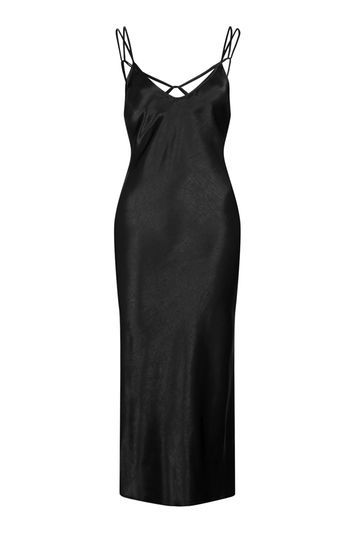 Two Strap Satin Midi Dress - length: below the knee; sleeve style: spaghetti straps; pattern: plain; predominant colour: black; occasions: evening; fit: body skimming; style: slip dress; neckline: scoop; fibres: polyester/polyamide - 100%; back detail: crossover; sleeve length: sleeveless; texture group: silky - light; pattern type: fabric; trends: chic girl, glossy girl; season: a/w 2016; wardrobe: event