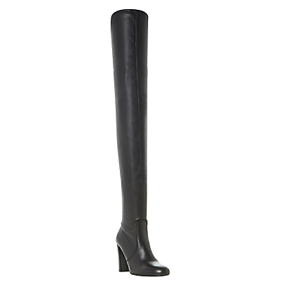 Sibyl Block Heeled Over The Knee Boots - predominant colour: black; occasions: casual; material: leather; heel height: high; heel: block; toe: round toe; boot length: over the knee; style: standard; finish: plain; pattern: plain; season: s/s 2016; wardrobe: highlight