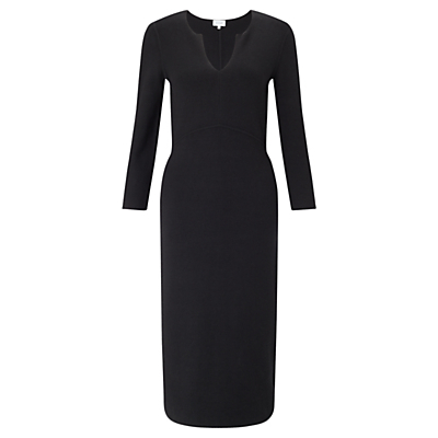 Silk Tencel Fitted Dress, Black - style: shift; neckline: v-neck; fit: tailored/fitted; pattern: plain; predominant colour: black; occasions: evening; length: on the knee; fibres: silk - mix; sleeve length: long sleeve; sleeve style: standard; texture group: crepes; pattern type: fabric; season: a/w 2016; wardrobe: event