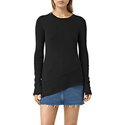 Keld Crew Neck Jumper - neckline: round neck; pattern: plain; length: below the bottom; style: standard; predominant colour: black; occasions: casual, creative work; fibres: wool - 100%; fit: standard fit; sleeve length: long sleeve; sleeve style: standard; texture group: knits/crochet; pattern type: knitted - fine stitch; wardrobe: basic; season: a/w 2016; trends: chunky knits