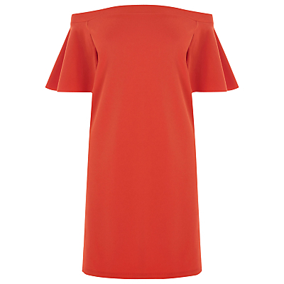 Off Shoulder Dress, Bright Red - style: shift; length: mid thigh; neckline: off the shoulder; sleeve style: angel/waterfall; pattern: plain; predominant colour: true red; occasions: evening, occasion; fit: straight cut; fibres: polyester/polyamide - 100%; sleeve length: short sleeve; texture group: crepes; pattern type: fabric; season: a/w 2016; wardrobe: event