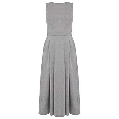 Open Back Midi Dress, Grey Pattern - length: below the knee; sleeve style: sleeveless; style: full skirt; waist detail: fitted waist; predominant colour: mid grey; fit: fitted at waist & bust; fibres: cotton - 100%; neckline: crew; hip detail: soft pleats at hip/draping at hip/flared at hip; sleeve length: sleeveless; pattern type: fabric; pattern size: light/subtle; texture group: woven light midweight; occasions: creative work; pattern: marl; season: a/w 2016