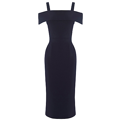 Crepe Off The Shoulder Dress, Navy - style: shift; length: below the knee; fit: tailored/fitted; pattern: plain; hip detail: draws attention to hips; predominant colour: navy; occasions: evening, occasion; fibres: polyester/polyamide - stretch; shoulder detail: cut out shoulder; sleeve length: short sleeve; sleeve style: standard; texture group: crepes; neckline: low square neck; pattern type: fabric; season: a/w 2016; wardrobe: event