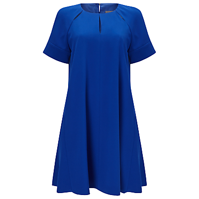 Zoe Swing Dress, Cobalt - style: smock; length: mid thigh; fit: loose; pattern: plain; predominant colour: royal blue; occasions: evening, occasion; neckline: peep hole neckline; fibres: polyester/polyamide - 100%; hip detail: subtle/flattering hip detail; sleeve length: short sleeve; sleeve style: standard; texture group: crepes; pattern type: fabric; season: a/w 2016; wardrobe: event