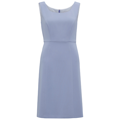 Moss Crepe Dress, Blue Mist - style: shift; fit: tailored/fitted; pattern: plain; sleeve style: sleeveless; predominant colour: pale blue; occasions: evening, occasion; length: just above the knee; neckline: scoop; fibres: polyester/polyamide - stretch; sleeve length: sleeveless; texture group: crepes; pattern type: fabric; season: a/w 2016; wardrobe: event