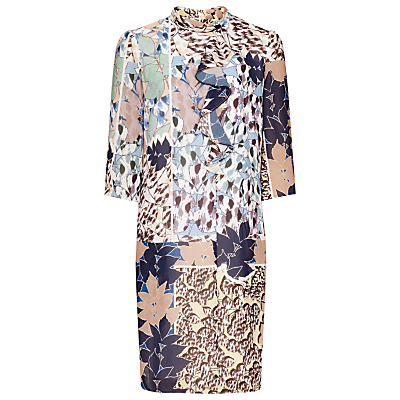 Jayda Printed Dress, Multi - style: shift; length: mid thigh; secondary colour: navy; predominant colour: nude; occasions: evening, occasion; fit: straight cut; neckline: collarstand; fibres: silk - mix; sleeve length: 3/4 length; sleeve style: standard; pattern type: fabric; pattern size: big & busy; pattern: florals; texture group: woven light midweight; season: a/w 2016