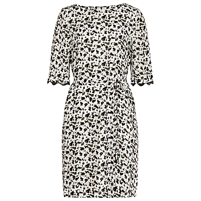 Noemi Dress, Olive/Off White - style: shift; length: mid thigh; neckline: round neck; fit: tailored/fitted; predominant colour: ivory/cream; secondary colour: black; occasions: evening, occasion; fibres: polyester/polyamide - 100%; sleeve length: half sleeve; sleeve style: standard; pattern type: fabric; pattern size: standard; pattern: florals; texture group: woven light midweight; season: a/w 2016; wardrobe: event
