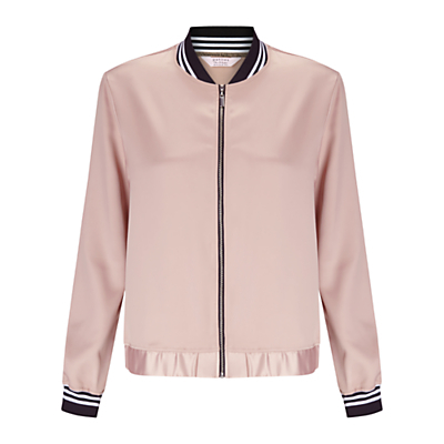 Petite Bomber Jacket, Pink - collar: round collar/collarless; style: bomber; predominant colour: blush; secondary colour: black; occasions: casual, creative work; length: standard; fit: tailored/fitted; fibres: polyester/polyamide - stretch; sleeve length: long sleeve; sleeve style: standard; texture group: crepes; collar break: high; pattern type: fabric; pattern size: standard; pattern: colourblock; season: a/w 2016; wardrobe: highlight