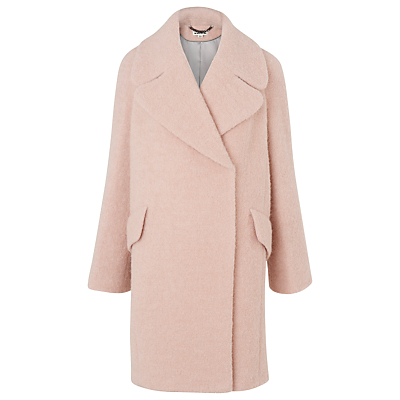 Penny Double Breasted Coat, Pale Pink - pattern: plain; fit: loose; style: double breasted; collar: standard lapel/rever collar; length: mid thigh; predominant colour: blush; occasions: casual; fibres: wool - mix; sleeve length: long sleeve; sleeve style: standard; collar break: medium; pattern type: fabric; texture group: woven bulky/heavy; wardrobe: basic; season: a/w 2016
