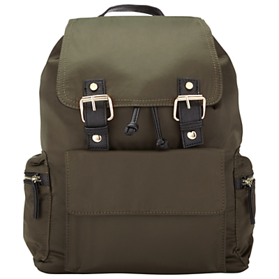 Nylon Pocket Rucksack - predominant colour: khaki; secondary colour: black; occasions: casual, creative work; type of pattern: standard; style: rucksack; length: rucksack; size: standard; material: fabric; pattern: plain; finish: plain; wardrobe: basic; season: a/w 2016