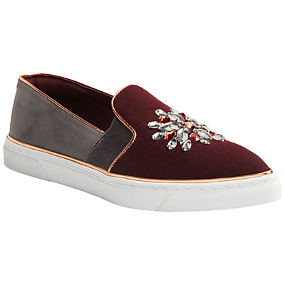 Gheyn Round Toe Slip On Trainers, Burgundy/Grey - predominant colour: burgundy; occasions: casual, creative work; material: fabric; heel height: flat; embellishment: jewels/stone; toe: round toe; finish: plain; pattern: colourblock; shoe detail: platform; style: skate shoes; multicoloured: multicoloured; season: a/w 2016; wardrobe: highlight