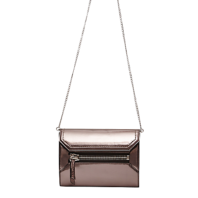 Super Zip Sacha Crossbody Bag, Pewter - occasions: evening; type of pattern: standard; style: clutch; length: hand carry; size: small; material: leather; pattern: plain; finish: metallic; predominant colour: pewter; season: a/w 2016; wardrobe: event