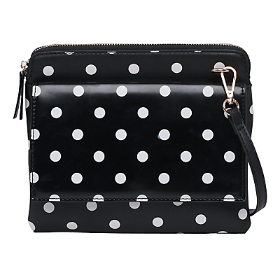 Pu Callie Pouch Bag, Polkadot Black - secondary colour: white; predominant colour: black; occasions: casual, creative work; type of pattern: light; style: messenger; length: across body/long; size: small; material: faux leather; pattern: polka dot; finish: plain; season: a/w 2016