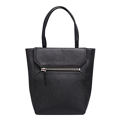 Saffiano Zip Sage Tote Bag, Black - predominant colour: black; occasions: casual; type of pattern: standard; style: tote; length: shoulder (tucks under arm); size: standard; material: leather; pattern: plain; finish: plain; wardrobe: investment; season: a/w 2016
