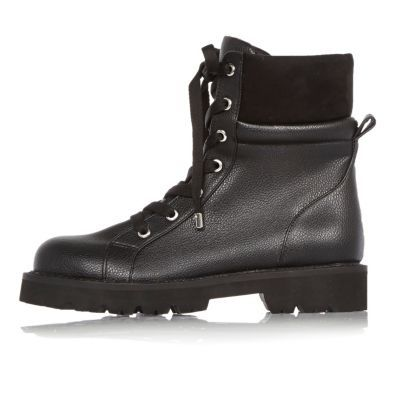 Womens Black Chunky Utility Boots - predominant colour: black; occasions: casual; material: faux leather; heel height: flat; heel: standard; toe: round toe; boot length: ankle boot; style: military; finish: plain; pattern: plain; shoe detail: tread; wardrobe: basic; season: a/w 2016; trends: military