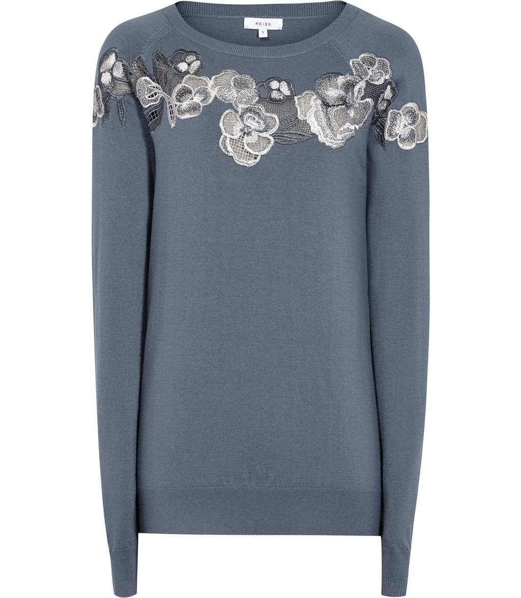 Amelia Womens Embroidered Jumper In Blue - bust detail: added detail/embellishment at bust; style: standard; predominant colour: denim; secondary colour: light grey; occasions: casual; length: standard; fibres: wool - 100%; fit: slim fit; neckline: crew; sleeve length: long sleeve; sleeve style: standard; texture group: knits/crochet; pattern type: fabric; pattern: florals; embellishment: embroidered; multicoloured: multicoloured; season: a/w 2016
