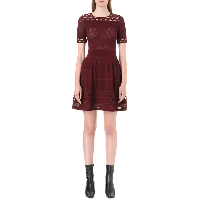 Geometric Cutout Detail Knitted Dress, Women's, Size: Small, Maroon - length: mid thigh; pattern: plain; bust detail: sheer at bust; predominant colour: burgundy; occasions: evening; fit: fitted at waist & bust; style: fit & flare; neckline: crew; sleeve length: short sleeve; sleeve style: standard; texture group: knits/crochet; pattern type: knitted - fine stitch; fibres: viscose/rayon - mix; season: a/w 2016; wardrobe: event