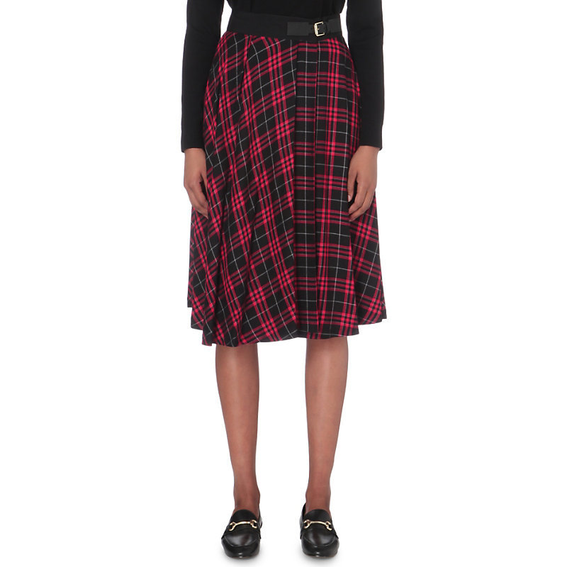 Shadow Woven Skirt, Women's, Noir - length: below the knee; pattern: checked/gingham; style: full/prom skirt; fit: loose/voluminous; waist detail: belted waist/tie at waist/drawstring; waist: mid/regular rise; predominant colour: true red; secondary colour: black; occasions: casual; fibres: viscose/rayon - 100%; texture group: cotton feel fabrics; pattern type: fabric; multicoloured: multicoloured; season: a/w 2016