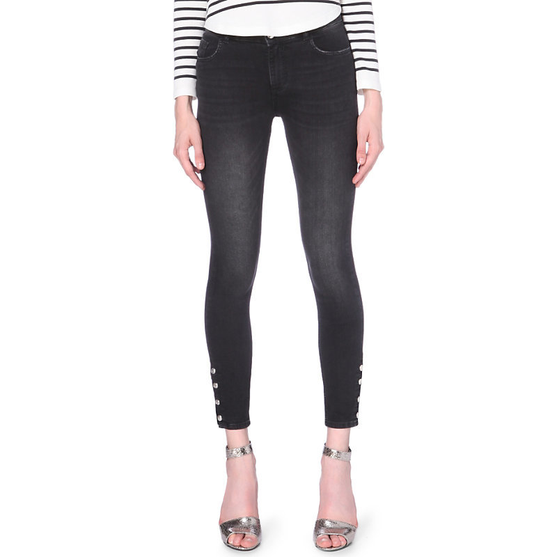 Power Skinny Mid Rise Jeans, Women's, Noir - style: skinny leg; pattern: plain; pocket detail: traditional 5 pocket; waist: mid/regular rise; predominant colour: black; occasions: casual; length: ankle length; fibres: cotton - stretch; texture group: denim; pattern type: fabric; embellishment: studs; season: a/w 2016