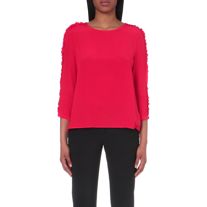 Bakery Woven Top, Women's, Rouge - pattern: plain; predominant colour: hot pink; occasions: casual, creative work; length: standard; style: top; fibres: viscose/rayon - 100%; fit: body skimming; neckline: crew; sleeve length: 3/4 length; sleeve style: standard; texture group: cotton feel fabrics; pattern type: fabric; season: a/w 2016; wardrobe: highlight