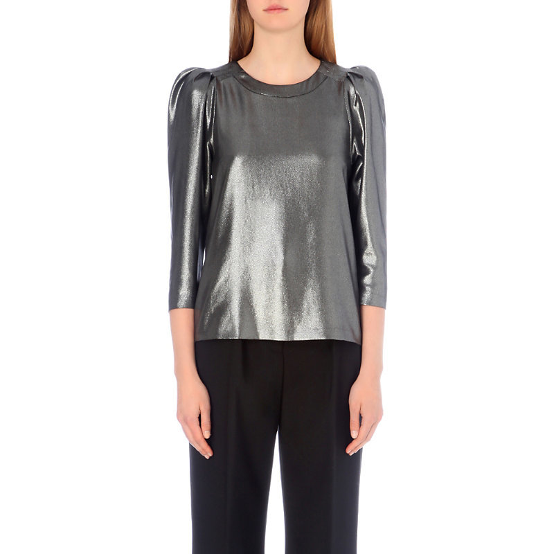 Brillant Metallic Top, Women's, Argent - pattern: plain; predominant colour: silver; occasions: evening; length: standard; style: top; fibres: polyester/polyamide - 100%; fit: body skimming; neckline: crew; sleeve length: 3/4 length; sleeve style: standard; pattern type: fabric; texture group: jersey - stretchy/drapey; season: a/w 2016; wardrobe: event
