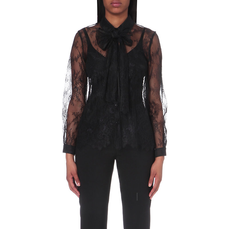 Chester Lace Shirt, Women's, Noir - bust detail: sheer at bust; neckline: pussy bow; style: blouse; predominant colour: black; occasions: evening; length: standard; fibres: nylon - 100%; fit: body skimming; sleeve length: long sleeve; sleeve style: standard; texture group: lace; pattern type: fabric; pattern: patterned/print; shoulder detail: sheer at shoulder; season: a/w 2016; wardrobe: event