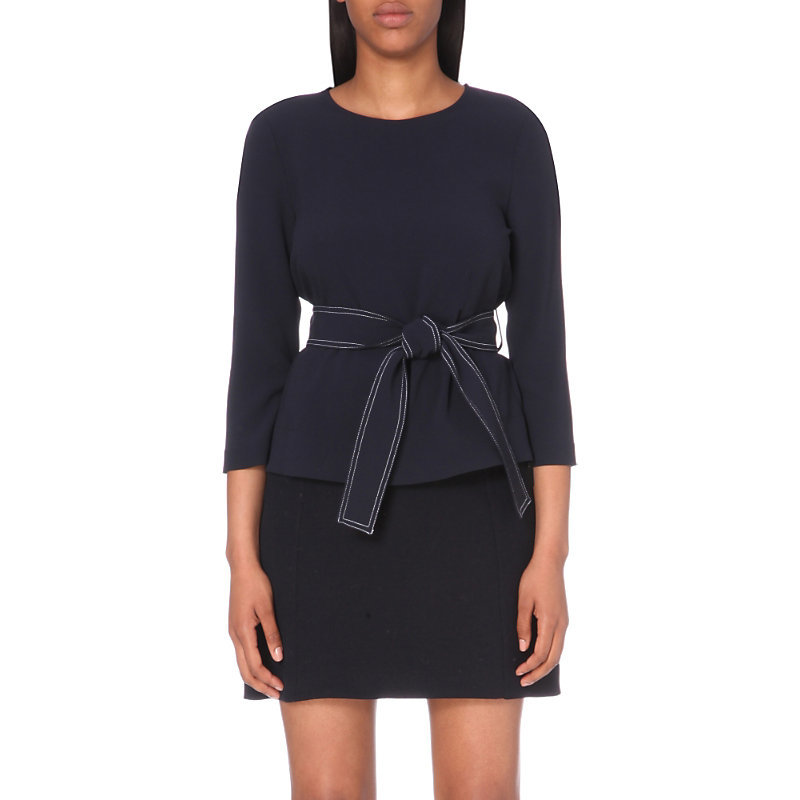 Berry Crepe Top, Women's, Dark Blue/Gold - pattern: plain; waist detail: belted waist/tie at waist/drawstring; predominant colour: navy; occasions: evening; length: standard; style: top; fit: body skimming; neckline: crew; sleeve length: 3/4 length; sleeve style: standard; texture group: crepes; pattern type: fabric; fibres: viscose/rayon - mix; season: a/w 2016
