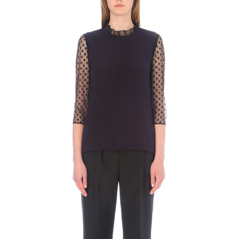 Benedicte Crepe And Tulle Shirt, Women's, Dark Blue/Gold - neckline: high neck; style: blouse; pattern: polka dot; predominant colour: navy; occasions: evening; length: standard; fibres: viscose/rayon - 100%; fit: body skimming; sleeve length: 3/4 length; sleeve style: standard; texture group: crepes; pattern type: fabric; shoulder detail: sheer at shoulder; season: a/w 2016