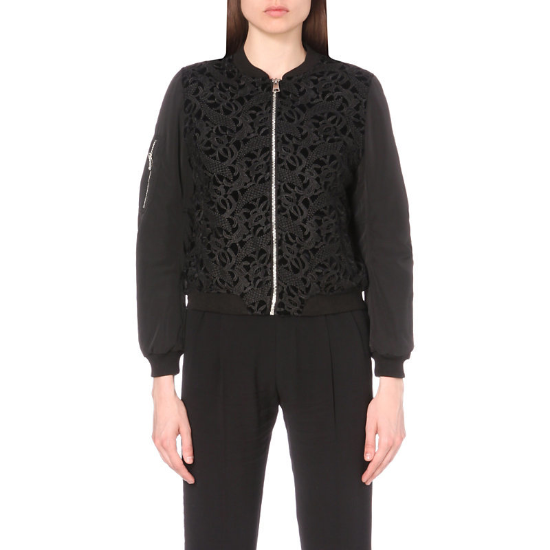 Vamos Lace And Shell Jacket, Women's, Noir - collar: round collar/collarless; sleeve style: balloon; style: bomber; predominant colour: black; occasions: casual, creative work; length: standard; fit: straight cut (boxy); fibres: polyester/polyamide - 100%; sleeve length: long sleeve; texture group: lace; collar break: high; pattern type: fabric; pattern size: standard; pattern: patterned/print; embellishment: lace; season: a/w 2016; wardrobe: highlight