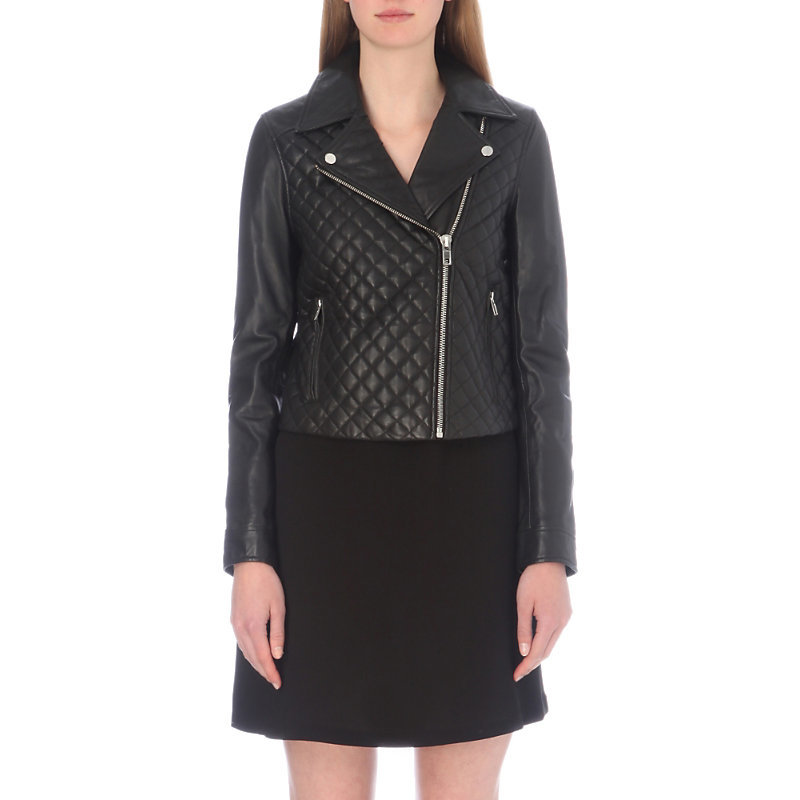 Classy Leather Jacket, Women's, Noir - pattern: plain; style: biker; collar: asymmetric biker; fit: slim fit; predominant colour: black; occasions: casual; length: standard; fibres: leather - 100%; sleeve length: long sleeve; sleeve style: standard; texture group: leather; collar break: medium; pattern type: fabric; embellishment: quilted; wardrobe: basic; season: a/w 2016