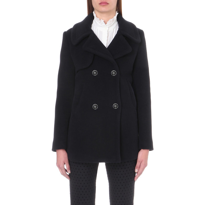 Gift Wool Blend Coat, Women's, Dark Blue/Gold - pattern: plain; length: below the bottom; style: double breasted; collar: standard lapel/rever collar; predominant colour: navy; occasions: casual, creative work; fit: tailored/fitted; fibres: wool - mix; sleeve length: long sleeve; sleeve style: standard; collar break: medium; pattern type: fabric; texture group: woven bulky/heavy; wardrobe: basic; season: a/w 2016