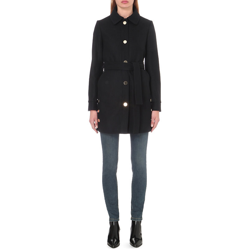Geny Wool Blend Coat, Women's, Black/Grey - pattern: plain; length: below the bottom; style: single breasted; fit: slim fit; predominant colour: black; occasions: casual; fibres: wool - mix; collar: shirt collar/peter pan/zip with opening; waist detail: belted waist/tie at waist/drawstring; sleeve length: long sleeve; sleeve style: standard; collar break: high; pattern type: fabric; texture group: other - light to midweight; wardrobe: basic; season: a/w 2016