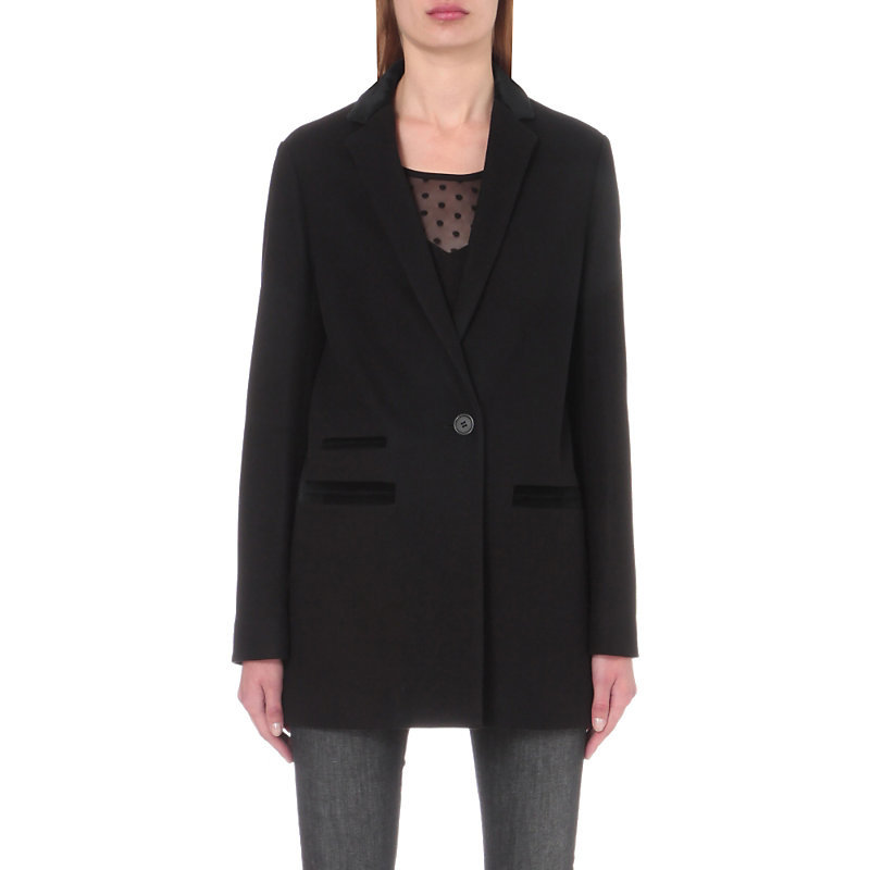 Gasparo Wool Blend Coat, Women's, Black - pattern: plain; length: below the bottom; style: single breasted; fit: slim fit; collar: standard lapel/rever collar; predominant colour: black; occasions: casual; fibres: wool - mix; sleeve length: long sleeve; sleeve style: standard; collar break: medium; pattern type: fabric; texture group: woven light midweight; wardrobe: basic; season: a/w 2016