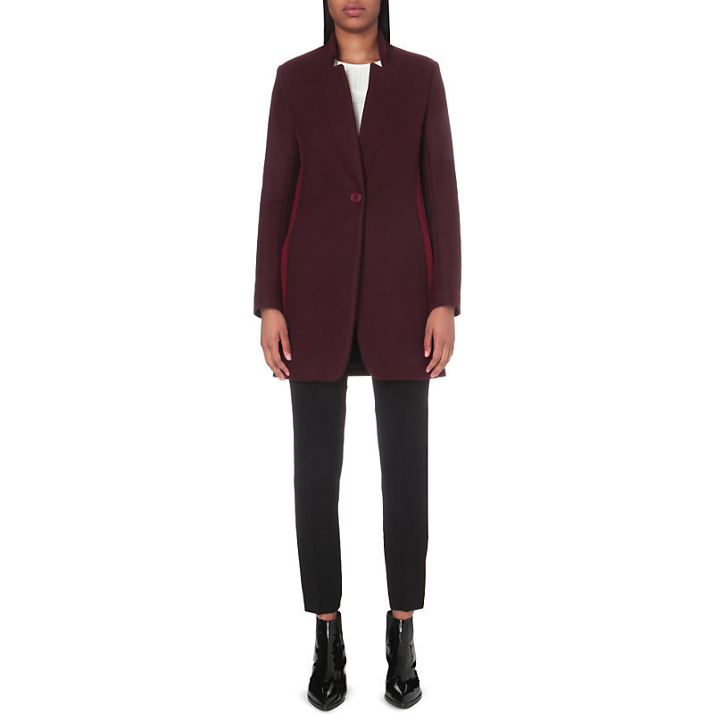Goriage Wool Blend Coat, Women's, Maroon - pattern: plain; length: below the bottom; style: single breasted; collar: high neck; predominant colour: burgundy; occasions: casual; fit: tailored/fitted; fibres: wool - mix; sleeve length: long sleeve; sleeve style: standard; collar break: medium; pattern type: fabric; texture group: woven bulky/heavy; season: a/w 2016; wardrobe: highlight