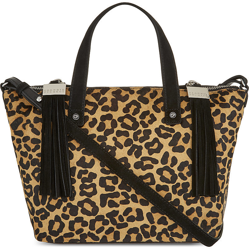 Anais Bis Haircalf Satchel, Women's, Leopard - secondary colour: chocolate brown; predominant colour: camel; occasions: casual; type of pattern: light; style: tote; length: shoulder (tucks under arm); size: oversized; material: animal skin; pattern: animal print; finish: plain; multicoloured: multicoloured; season: a/w 2016