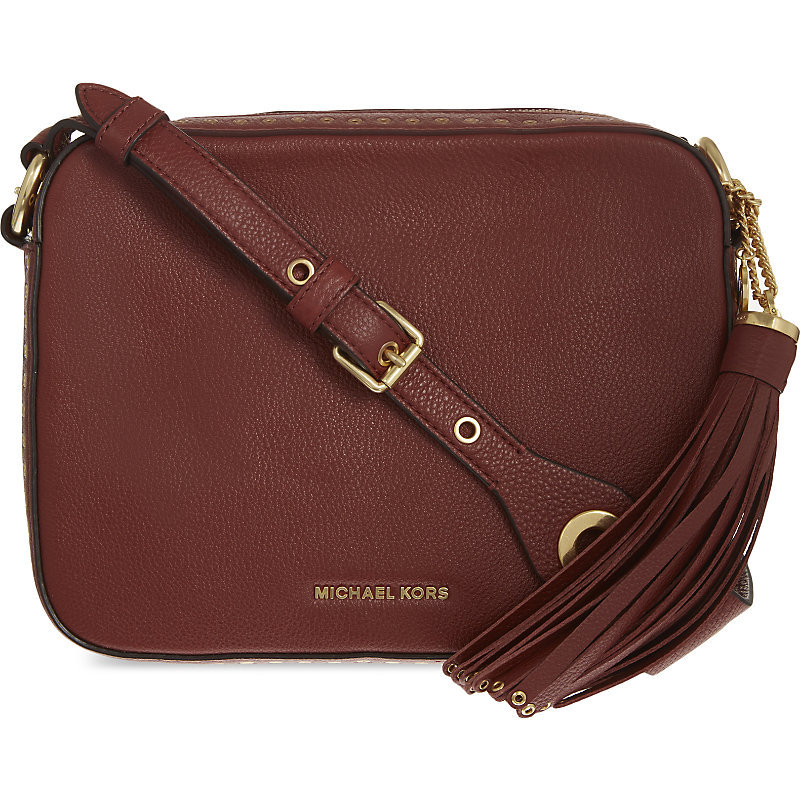 Brooklyn Leather Shoulder Bag, Women's, Brick - predominant colour: chocolate brown; occasions: casual; type of pattern: standard; style: messenger; length: across body/long; size: mini; material: leather; embellishment: tassels; pattern: plain; finish: plain; wardrobe: basic; season: a/w 2016