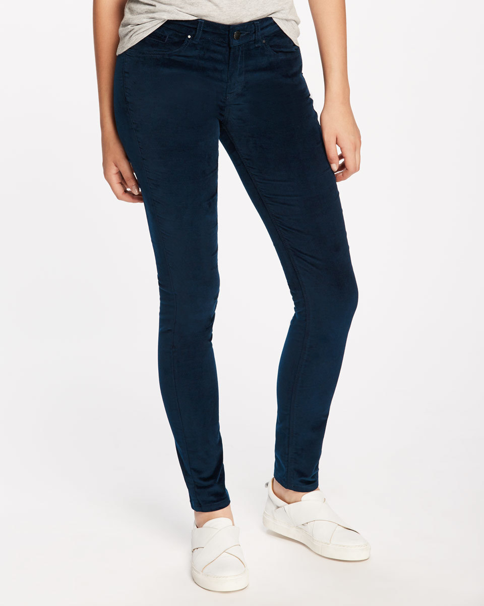 Richmond Velvet Jean - style: skinny leg; length: standard; pattern: plain; pocket detail: traditional 5 pocket; waist: mid/regular rise; predominant colour: navy; occasions: casual; fibres: cotton - stretch; pattern type: fabric; texture group: velvet/fabrics with pile; season: a/w 2016; wardrobe: highlight